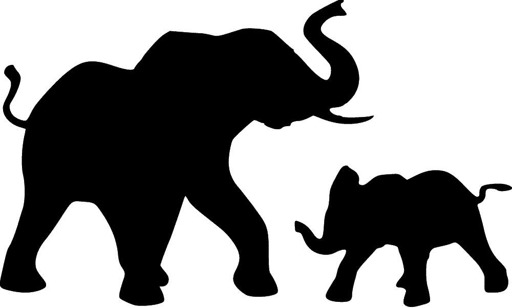 Sweet image inside elephant stencil printable